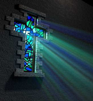 Stained Glass Window Crucifix